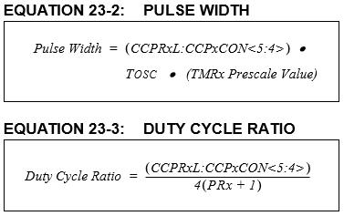 PICマイコン(16F1827)のPulse Width(デューティー比)の関係式